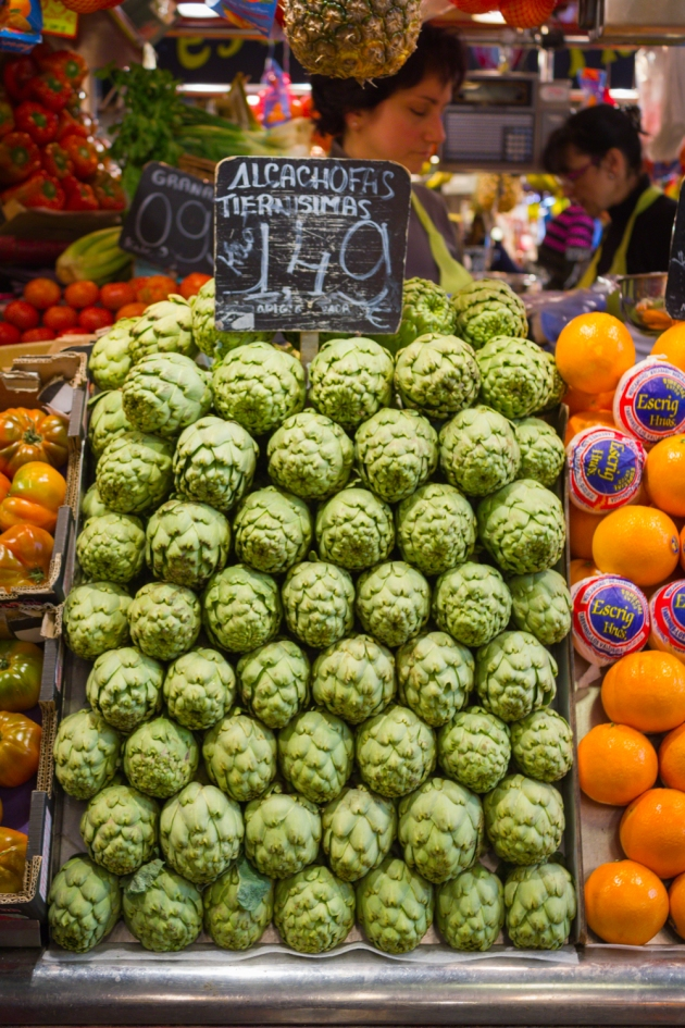 Artichokes at La Boqueria